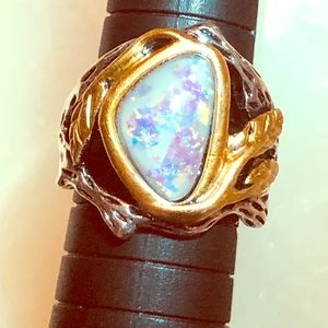 Opalesque Two-Tone Branches/Leaves Ring